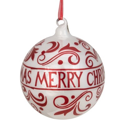 """Northlight Shiny Red and White """"MERRY CHRISTMAS"""" Glass Ball Ornament 4.5"""" (115mm)"""