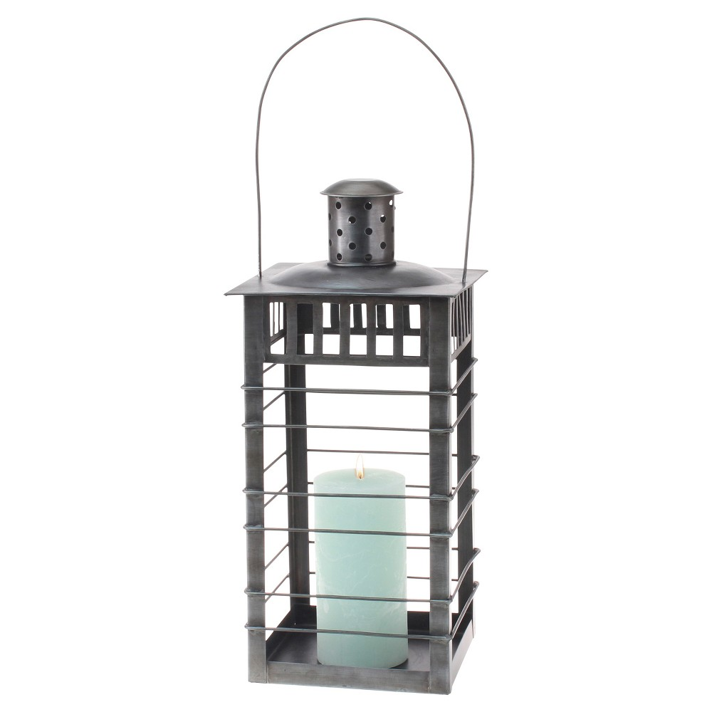"Image of ""20.2"""" Stonebriar Coastal Metal Candle Holder Lantern with Handle - CKK Home Decor, Silver"""