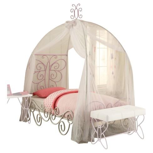 Priya Ii Twin Bed With Canopy White And Light Purple Acme