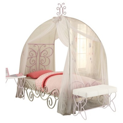 Gentil Priya II Twin Bed With Canopy White And Light Purple Acme