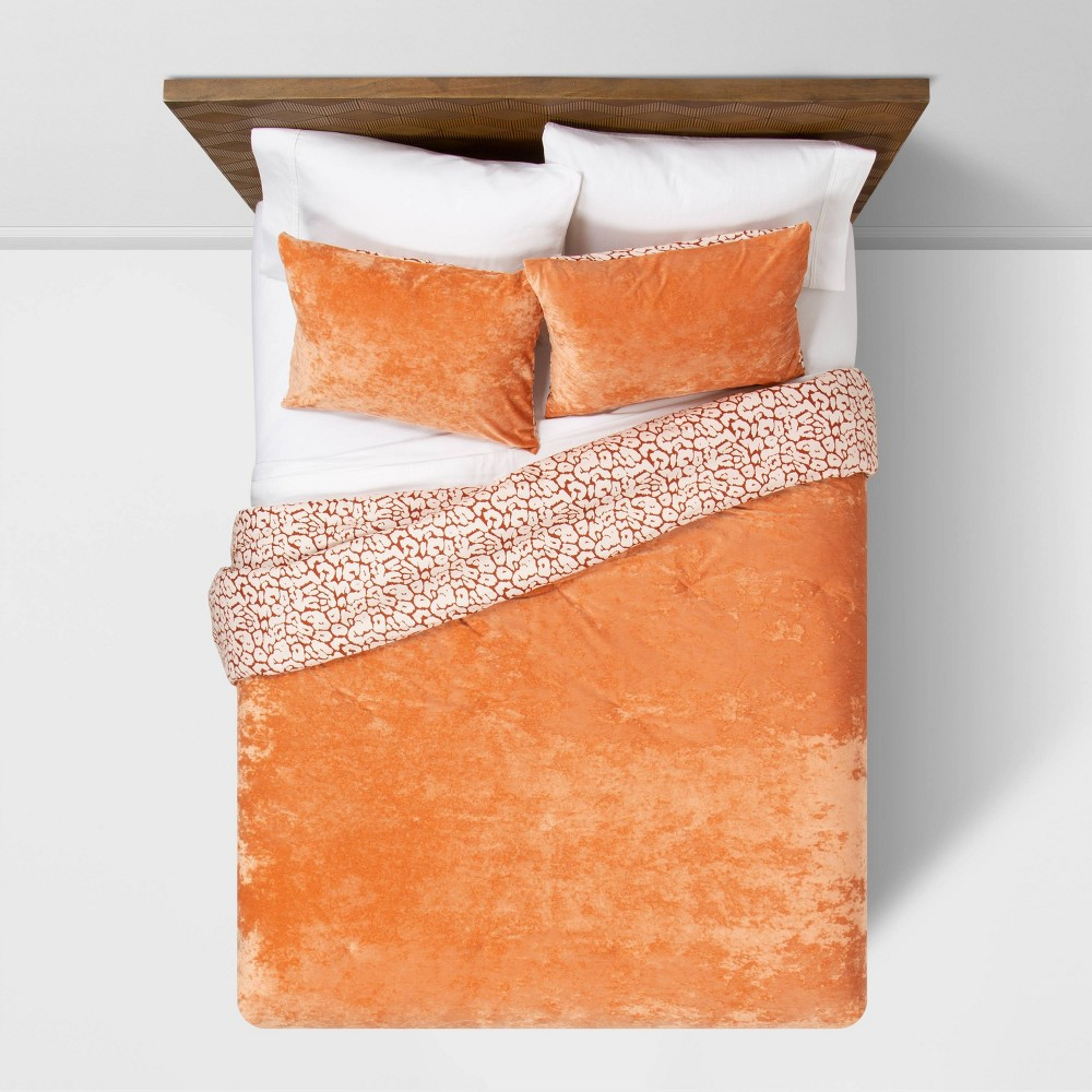 Rust Reversible Velvet Leopard Print F Q Comforter 38 Sham Set Opalhouse 8482