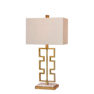 Stacked Modern Cut Out Antique Metal & Clear Acrylic Table Lamp Gold  - Fangio Lighting