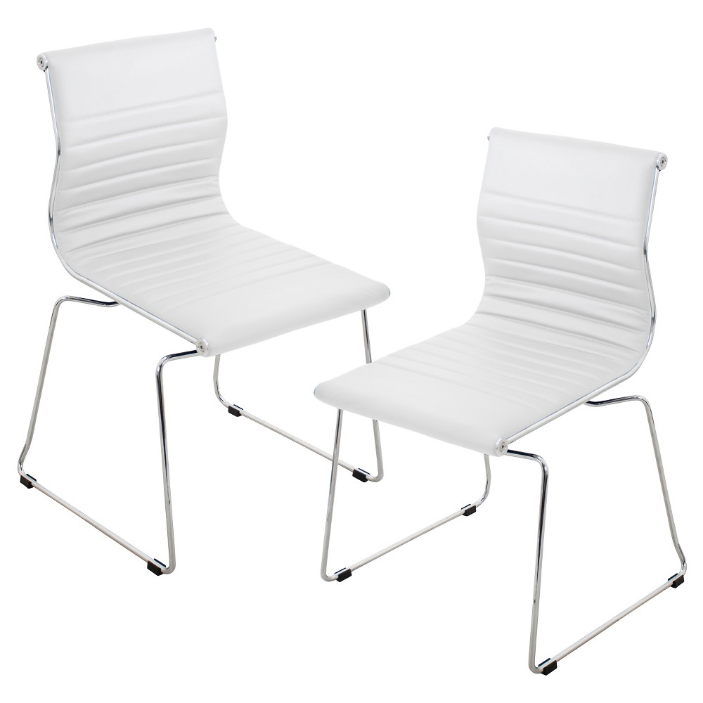 Master Contemparary Stackable Chairs - White Polyurethane (Set of 2) - LumiSource