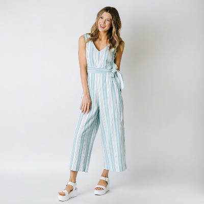 Hope & Henry Womens' Woven Sleeveless Tie-Waist Jumpsuit with Wide Leg