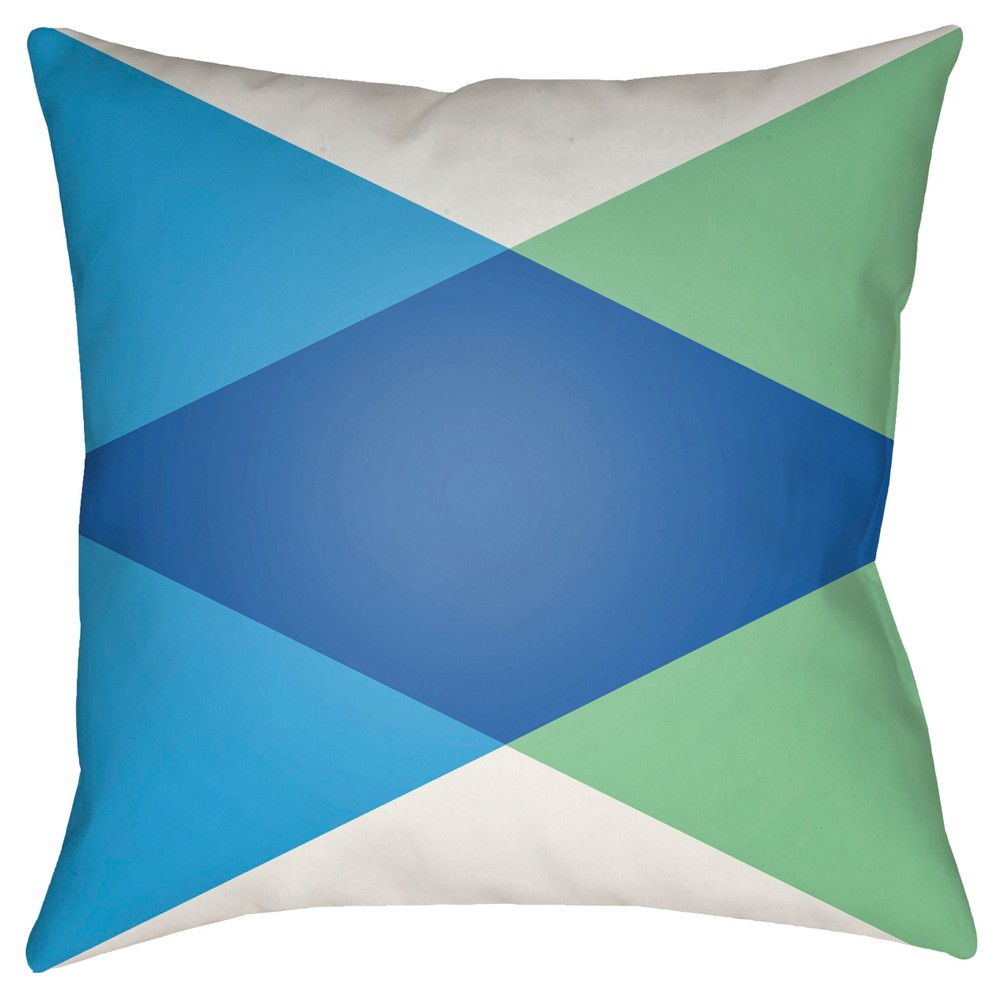 Blue Intersecting Triangles Throw Pillow 18