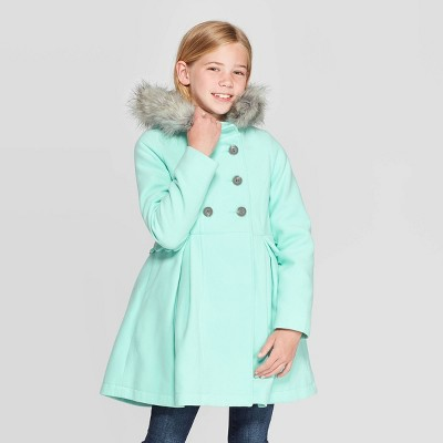 Girls' Faux Fur Hood Jacket - Cat & Jack™ Green M