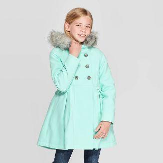 Girls' Faux Fur Hood Jacket - Cat & Jack™ Green XS