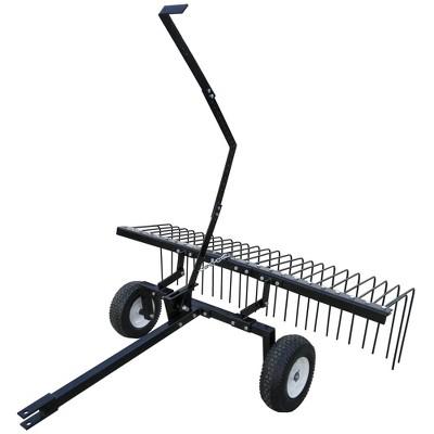 "Yard Tuff 60"" Pine Straw Outdoor Garden Rake for ATV, UTV, or Utility Tractor"