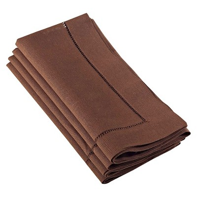 Hemstitched Dinner Napkins Chocolate (Set of 4)