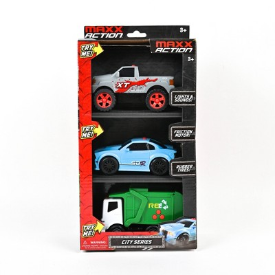 Maxx Action Mini City Lights & Sounds Vehicles  with Pickup Truck, Sports Car and Recycling Truck - 3pk