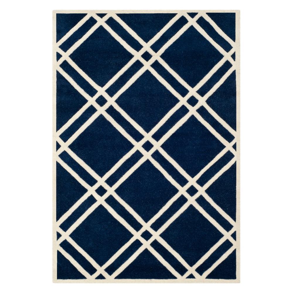 4'X6' Geometric Tufted Area Rug Dark Blue/Ivory - Safavieh
