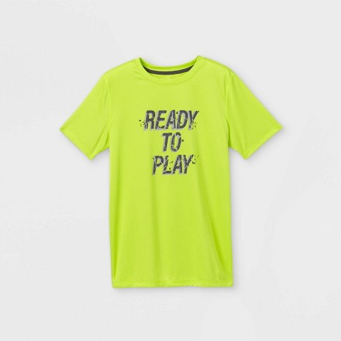 Boys' Short Sleeve 'Ready to Play' Graphic T-Shirt - All in Motion™ Green - image 1 of 2