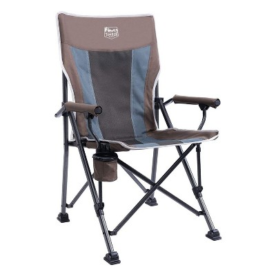 Timber Ridge Indoor Outdoor Portable Lightweight Folding Camping High Back Lounge Chair w/ Cup Holder & Carry Bag for Hiking, Beach, and Patio, Earth