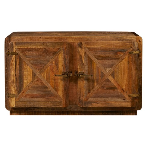 Industrial Style Two Door Natural Mango Finish Accent Console - Brown - Pulaski - image 1 of 5