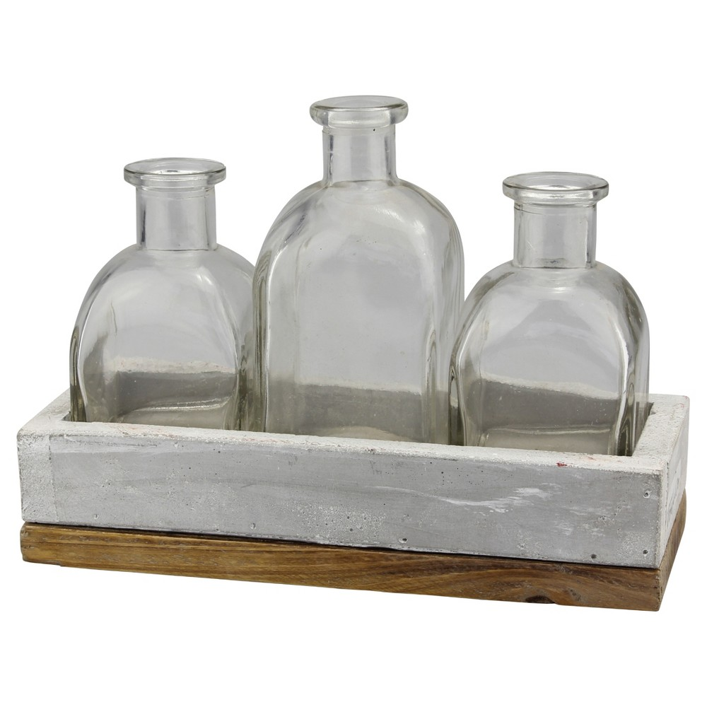 Image of Decorative Bottles with Tray - Ckk Home Décor, Clear