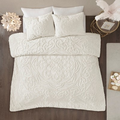 3pc Queen Cecily Cotton Medallion Comforter Set Ivory