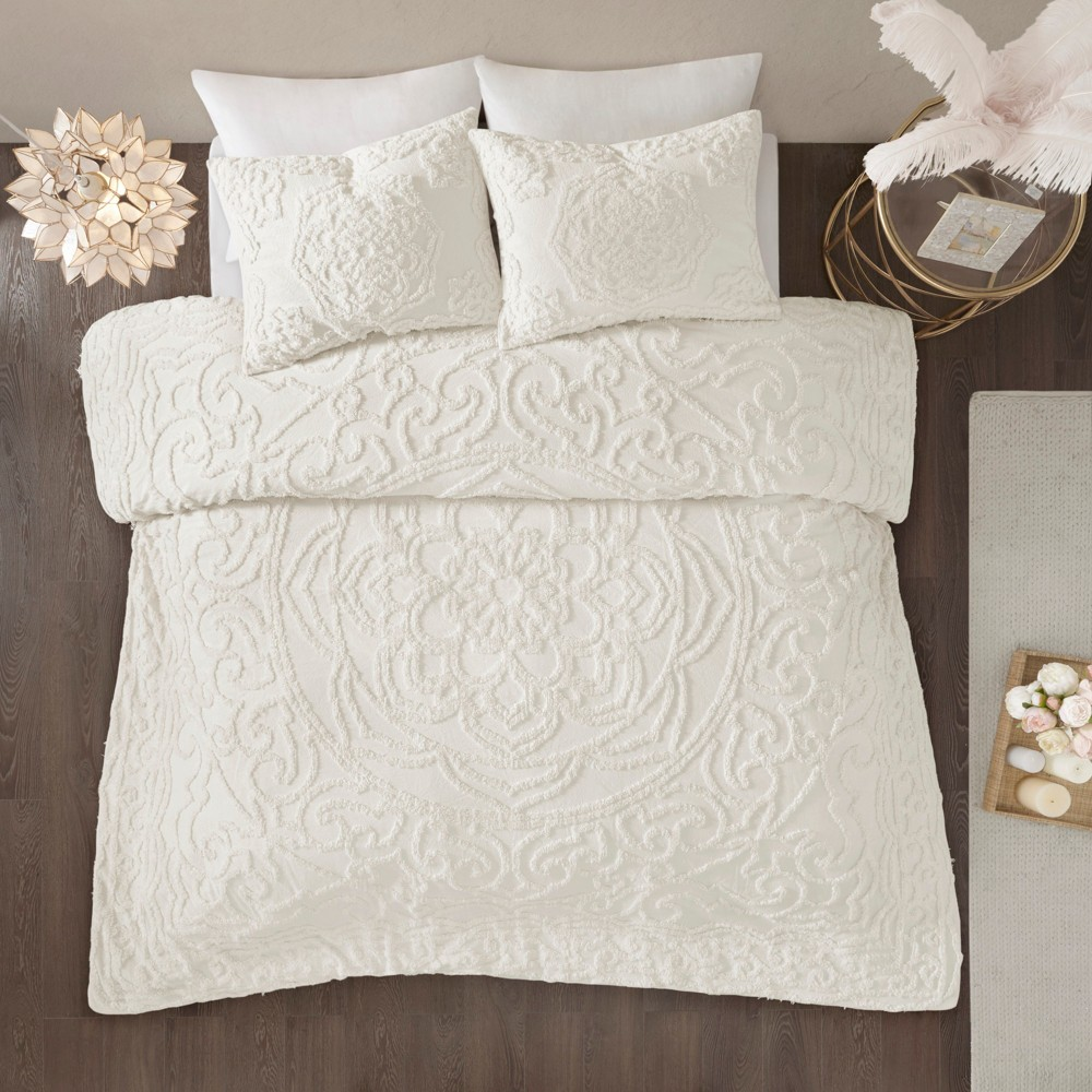 3pc King Cecily Cotton Medallion Comforter Set Ivory