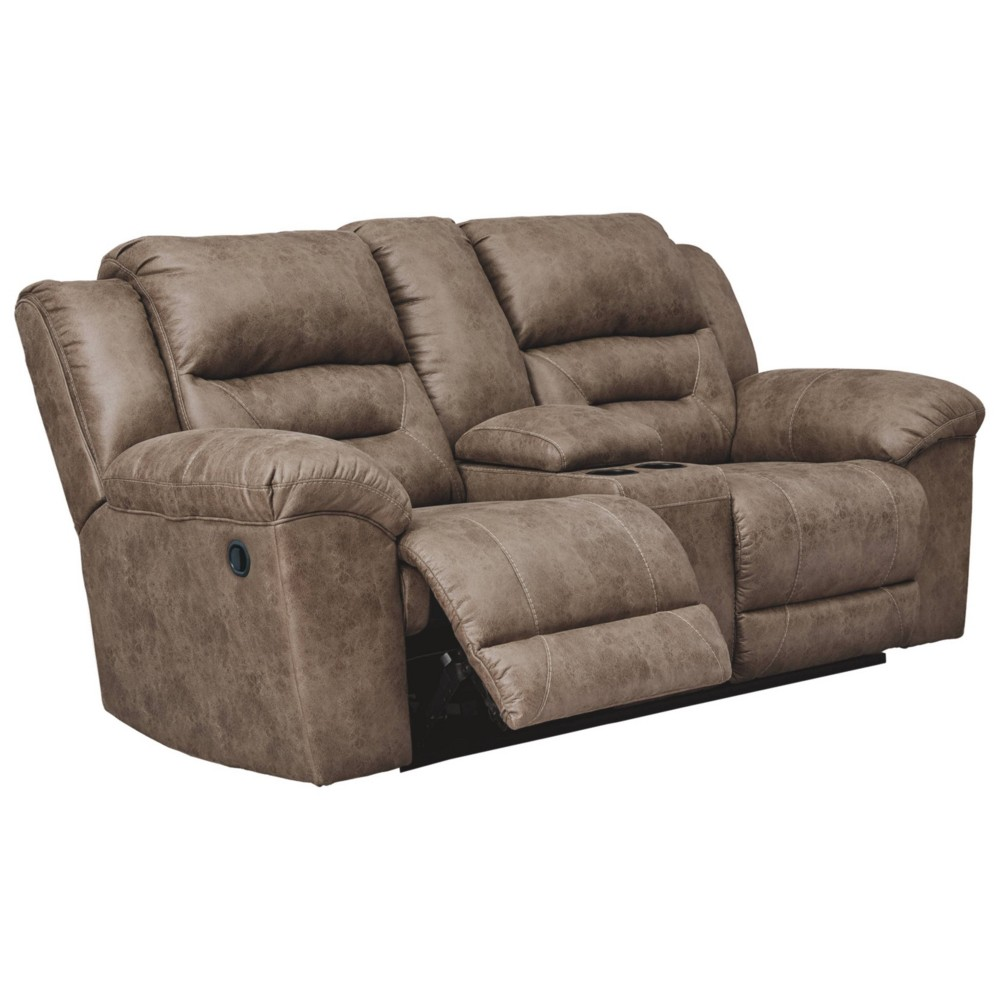 Stoneland Reclining Loveseat with Console Fossil Brown - Signature Design by Ashley
