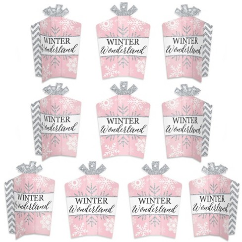 Big Dot Of Happiness Pink Winter Wonderland Table Decor Holiday Snowflake Birthday Party And Baby Shower Fold Flare Centerpieces 10 Count Target