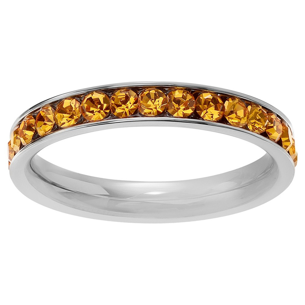 3/5 CT. T.W. Round-cut CZ Birthstone Eternity Channel Set Band in Sterling Silver - Yellow, 10, Orange