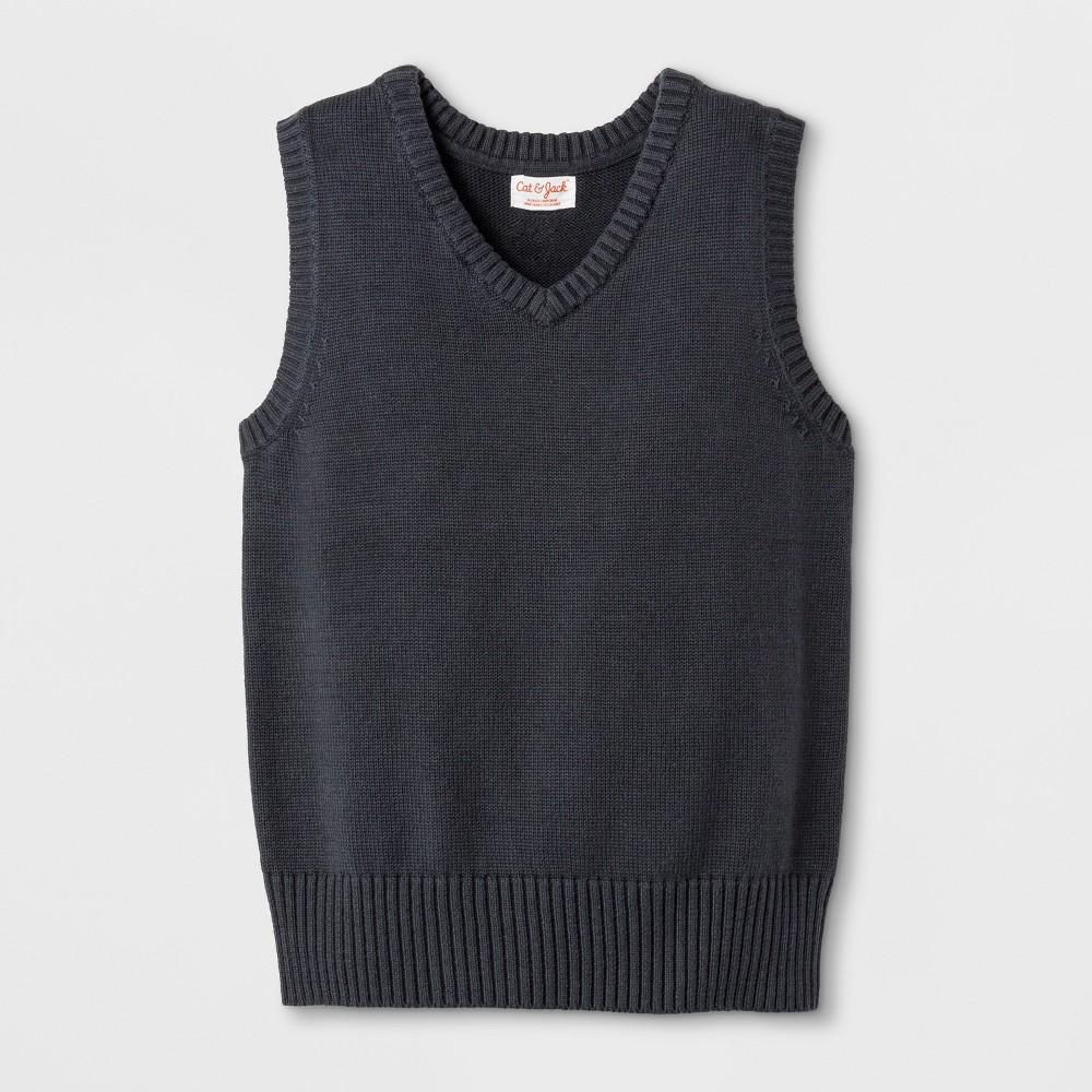 Image of Boys' Uniform Sweater Vest - Cat & Jack Charcoal Gray L, Boy's, Size: Large, Grey Gray