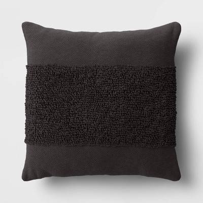 """18""""x18"""" Modern Tufted Square Throw Pillow Black - Project 62™"""