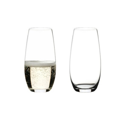 Riedel O Wine 9.31-Ounce 4.8-Inch Drink Glass Tumbler Champagne Stemless Home Kitchen and Bar Fine Crystal Flute Glasses, Set of 2