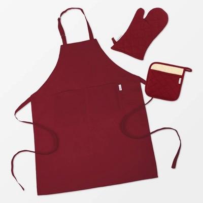 Cotton Apron /Mitt Pot/ holder 3pc Set Maroon - MU Kitchen