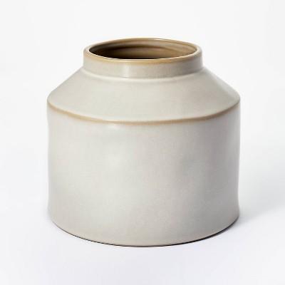"7"" x 8"" Carved Ceramic Vase Gray - Threshold™ designed with Studio McGee"