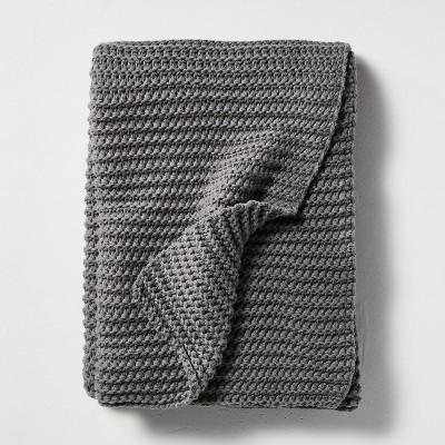 Chunky Knit Throw Blanket Dark Gray - Hearth & Hand™ with Magnolia
