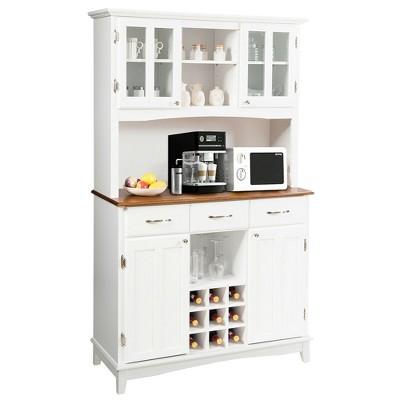 Costway Buffet And Hutch Kitchen Storage Cabinet Cupboard w/ Wine Rack & Drawers White