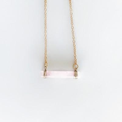 Sanctuary Project Rose Quartz Bar Necklace Light Pink