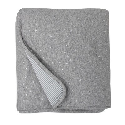 Living Textiles Baby Quilted Comforter - Metallic Stars + Gray Heathered Stripes