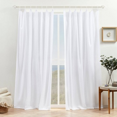 Set of 2 Bari Light Filtering Spiral Loop Tab Top Curtain Panels - Exclusive Home