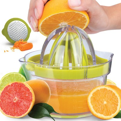 Zulay Kitchen Lemon Juicer Squeezer with Built-In 12 oz Measuring Cup, Strainer & Vegetable Grater
