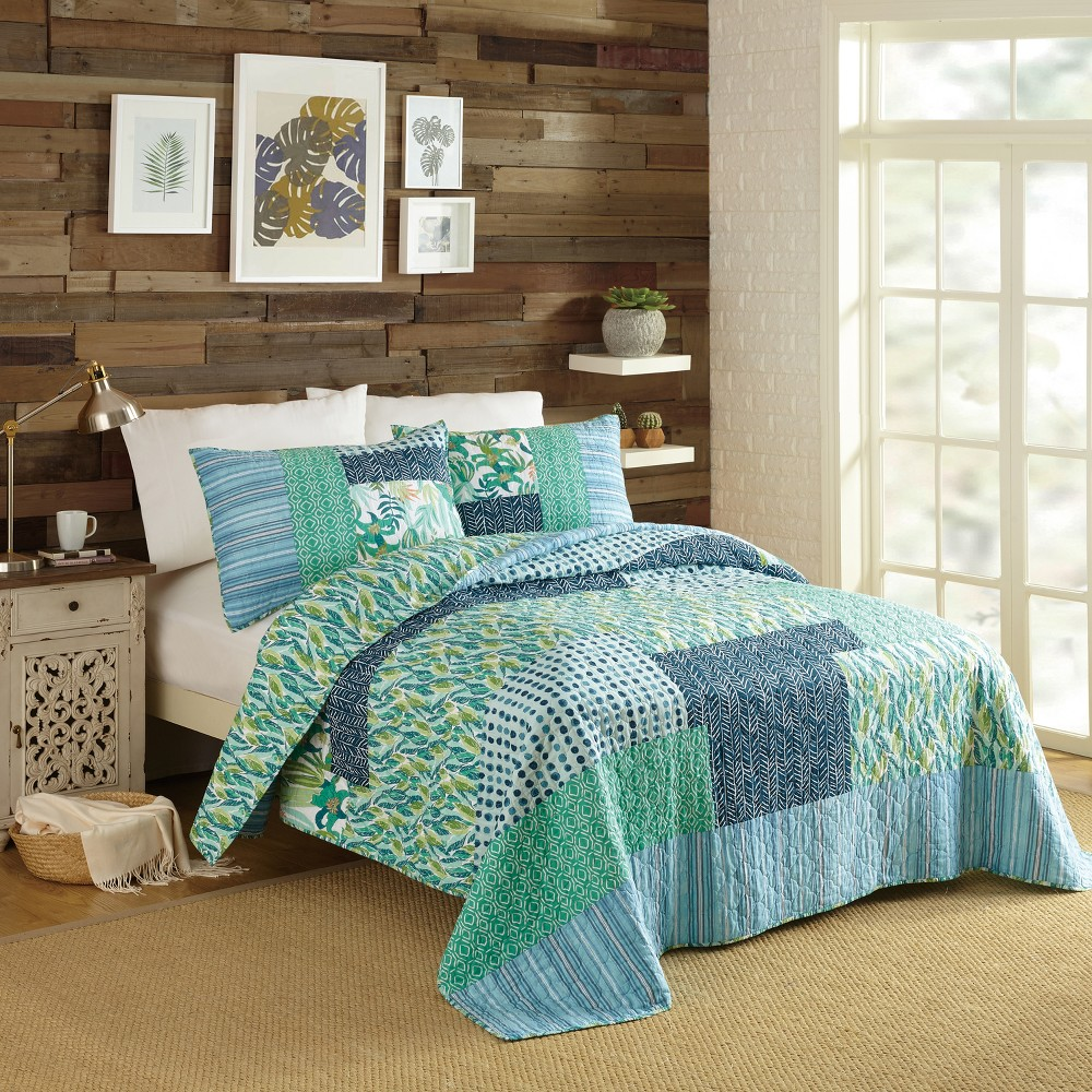 Image of 3pc Full/Queen Native Springs Quilt Set Blue - Justina Blakeney for Makers Collective