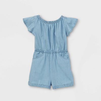Toddler Girls' Tie-Back Chambray Short Sleeve Romper - Cat & Jack™ Light Blue