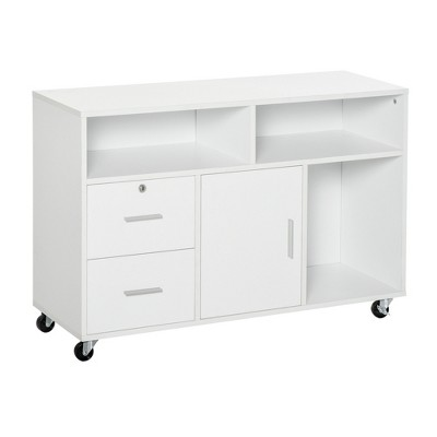 """HomCom 39"""" Home Office Printer Stand Mobile Storage Cabinet with Wheels"""
