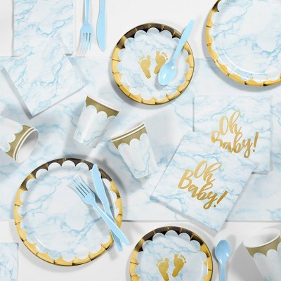 Marble Baby Shower Party Supplies Kit Blue