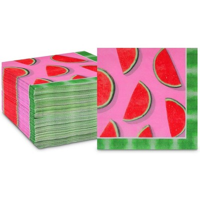 """Sparkle and Bash 150 Pack Watermelon Fruit Disposable Paper Napkins 6.5"""" for Summer Party Decorations"""