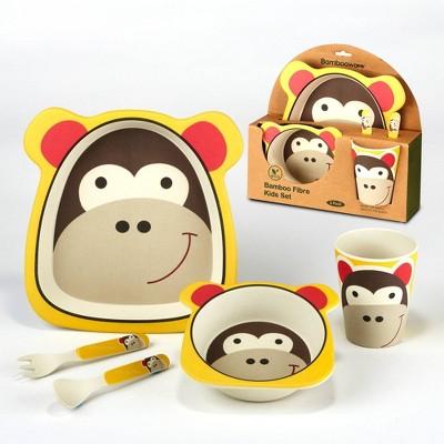 5pc Bamboo Kids Monkey Dinnerware Set Brown - Certified International