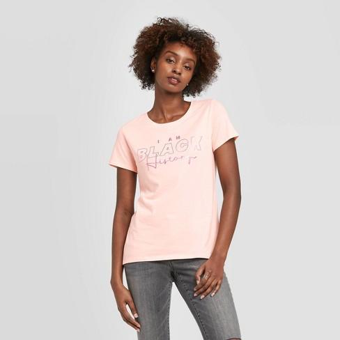 Well Worn Women's I Am Black History Short Sleeve T-Shirt - Pink - image 1 of 3
