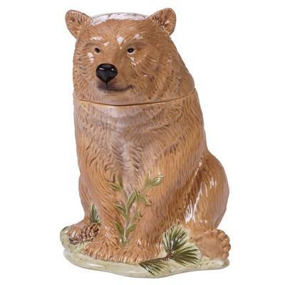 72oz Earthenware Mountain Retreat 3-D Bear Cookie Jar Brown - Certified International