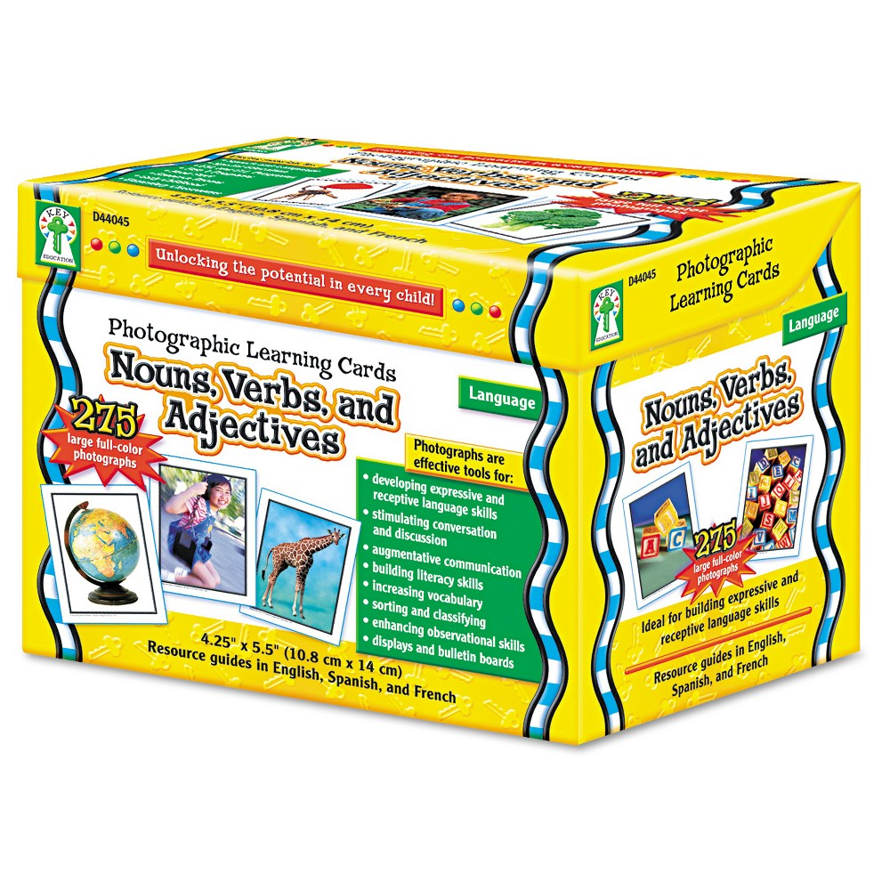 Carson-Dellosa Publishing Photographic Learning Cards Boxed Set, Nouns/Verbs/Adjectives, Grades K-12, Multi-Colored