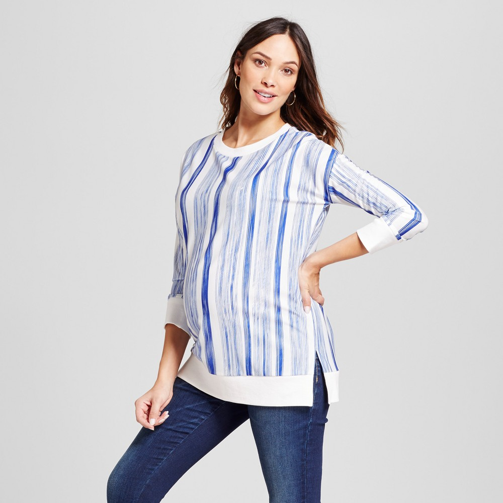 Maternity Relaxed Fit Pullover Vertical Stripe French Terry Top - Fynn And Rose Blue L, Women's