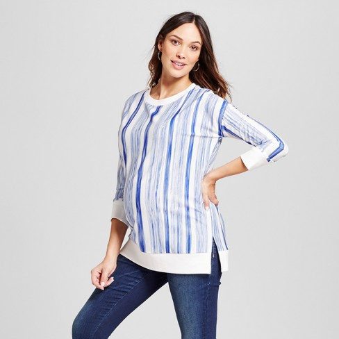 93ff44db9f82e Maternity Relaxed Fit Pullover Vertical Stripe Top - Fynn And Rose® Blue