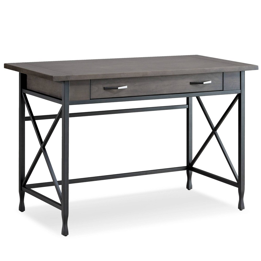 Image of Chisel and Forge Writing Desk Smoke Gray/Matte Black - Leick Home, Black Gray