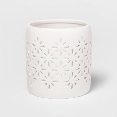 "4.7"" x 4.5"" Matte Ceramic Starburst Candle Holder Sleeve White - Threshold™"