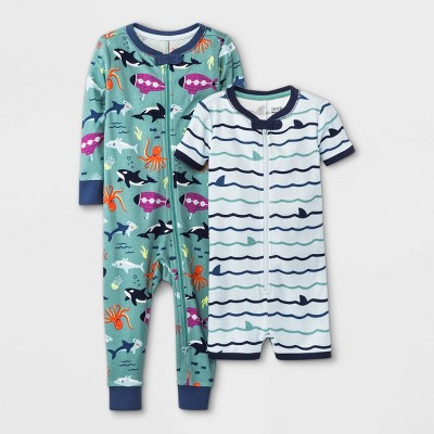 Baby Boys' 2pk Whales Submarines Union Suit - Cat & Jack™ Light Green 12M