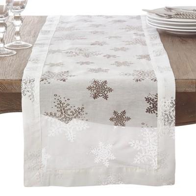 White Snowflakes Table Runner - Saro Lifestyle
